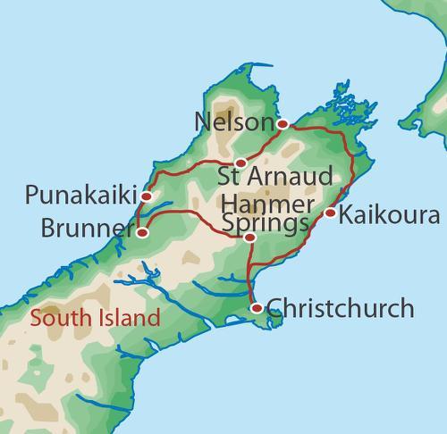 New Zealand Road Map South Island.New Zealand Bike Tours Of A Lifetime